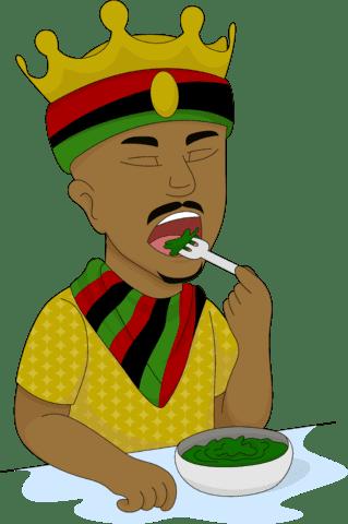 african king cartoon eating