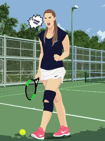 angry girl tennis cartoon