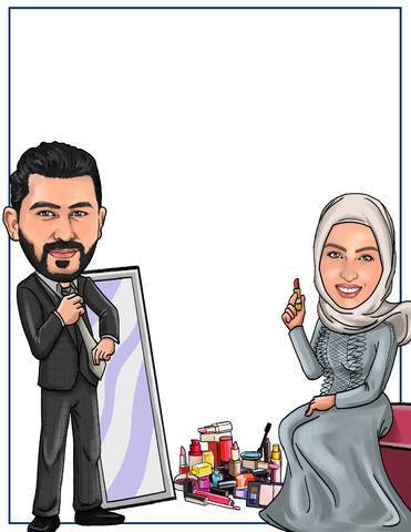 caricature couple-engagement-announcement