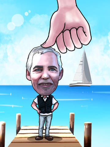 caricature of man on pier