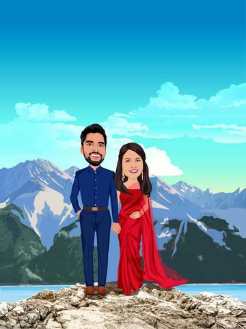 cartoon couple with mountain
