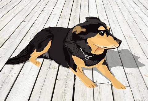 cartoon dog on floor