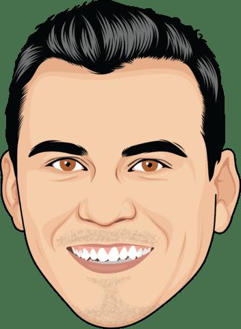 cartoon face of a man with black hair