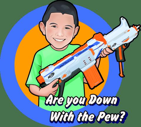 cartoon of boy holding Nerf gun