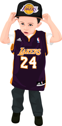 cartoon of boy with lakers outfit