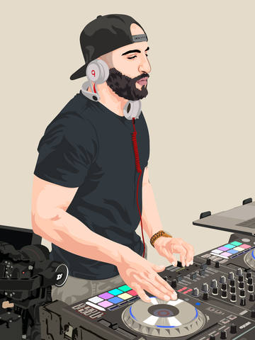 cartoon of music DJ