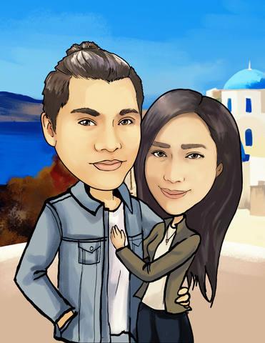couple caricature in santorini