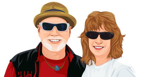 couple wearing shades cartoon