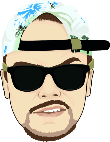 DJ cartoon face with cap and sunglasses