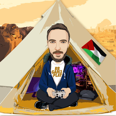 middle eastern man with tent cartoon
