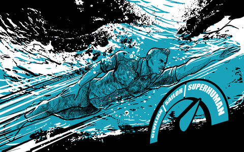 soldier swimming cartoon